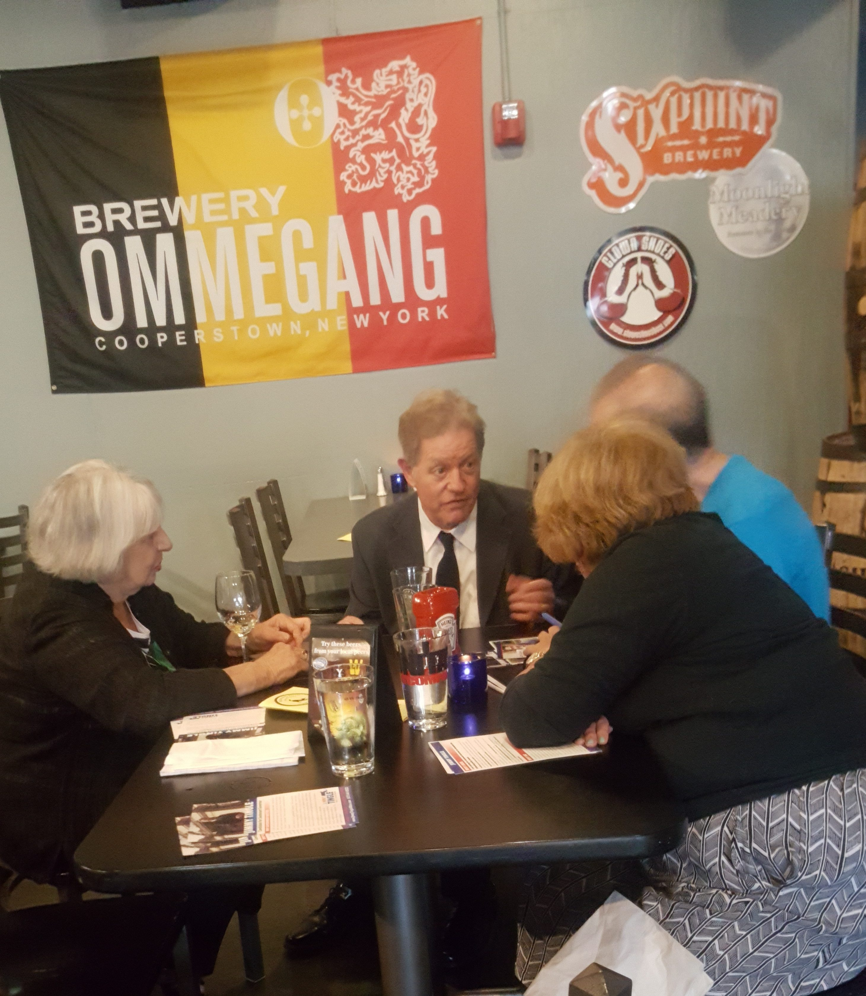 Jimmy Tingle speaks with voters